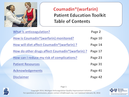 Coumadin (warfarin) Patient Education Toolkit PDF